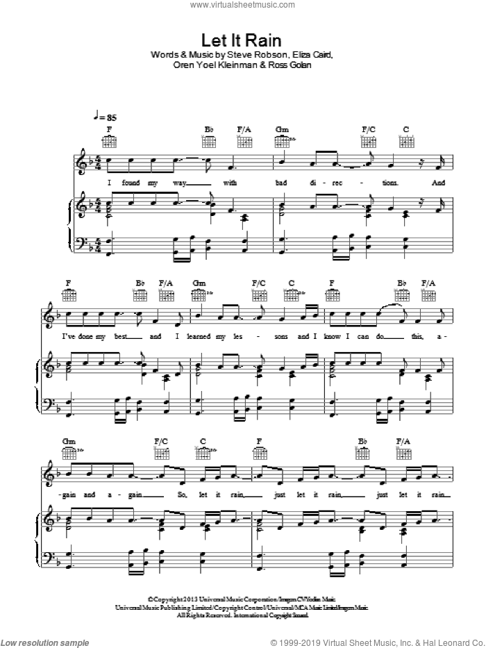 Let It Rain sheet music for voice, piano or guitar by Eliza Doolittle. Score Image Preview.