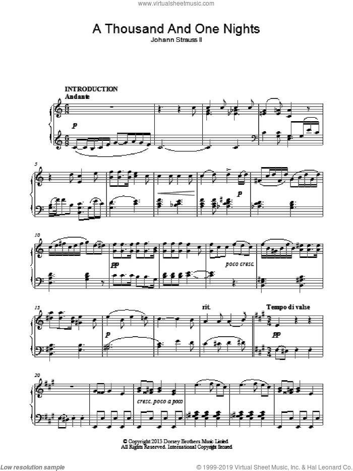 A Thousand And One Nights sheet music for piano solo by Johann Strauss, Jr., classical score, intermediate