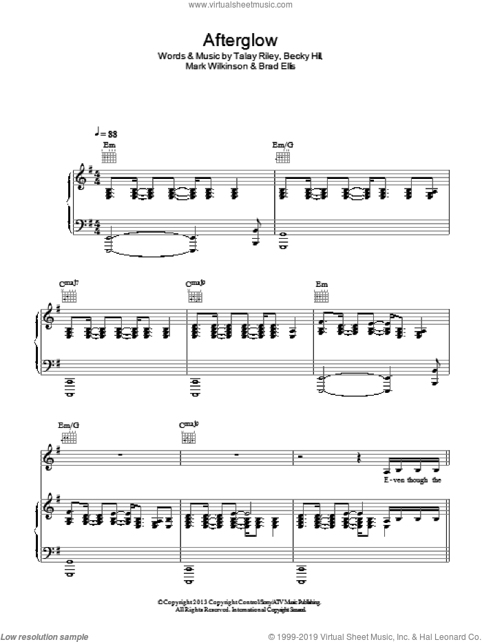 Afterglow sheet music for voice, piano or guitar by Talay Riley and Brad Ellis. Score Image Preview.