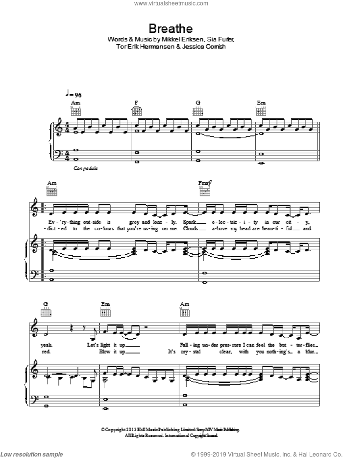 Breathe sheet music for voice, piano or guitar by Tor Erik Hermansen, Jessie J, Jessica Cornish, Mikkel Eriksen and Sia Furler. Score Image Preview.