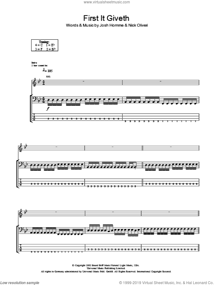 First It Giveth sheet music for bass (tablature) (bass guitar) by Nick Oliveri