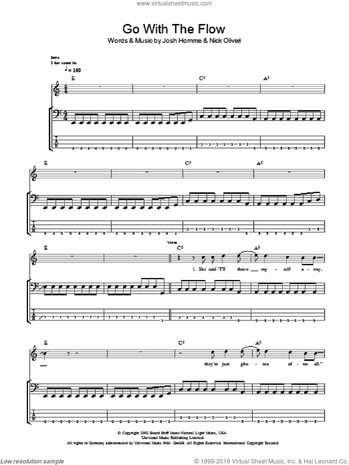 Go With The Flow sheet music for bass (tablature) (bass guitar) by Queens Of The Stone Age, Josh Homme and Nick Oliveri, intermediate skill level