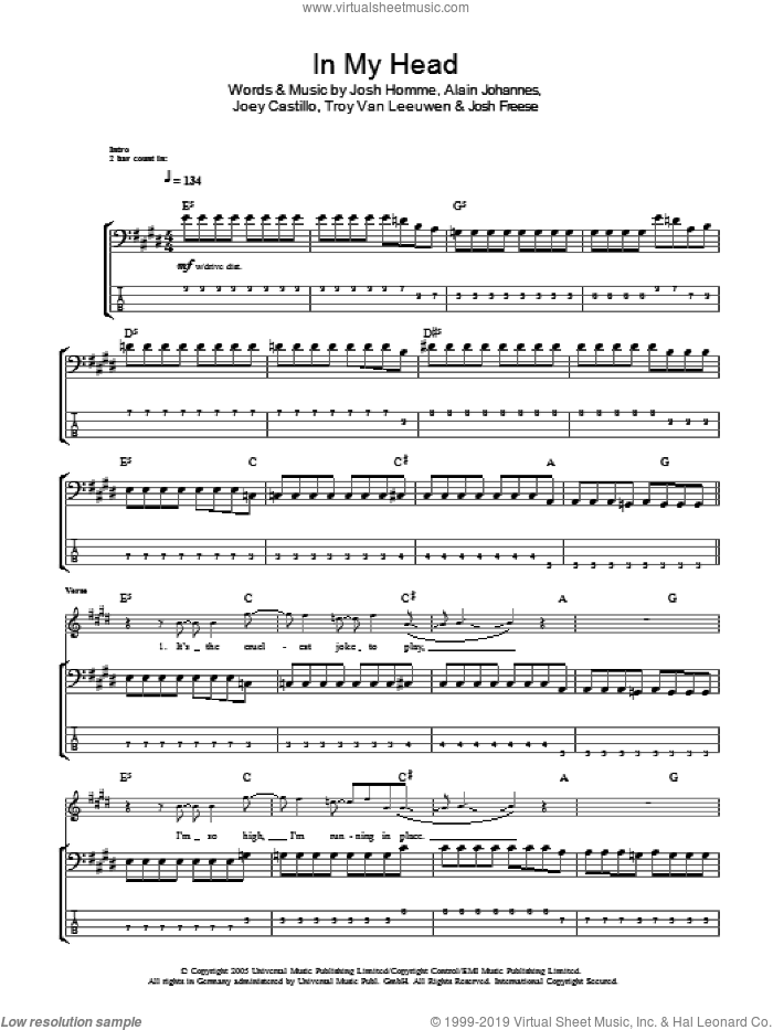 In My Head sheet music for bass (tablature) (bass guitar) by Troy Van Leeuwen, Queens Of The Stone Age, Alain Johannes, Joey Castillo and Josh Homme. Score Image Preview.