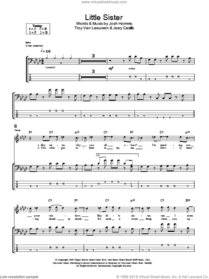 Little Sister sheet music for voice, piano or guitar by Queens Of The Stone Age, Joey Castillo, Josh Homme and Troy Van Leeuwen, intermediate skill level