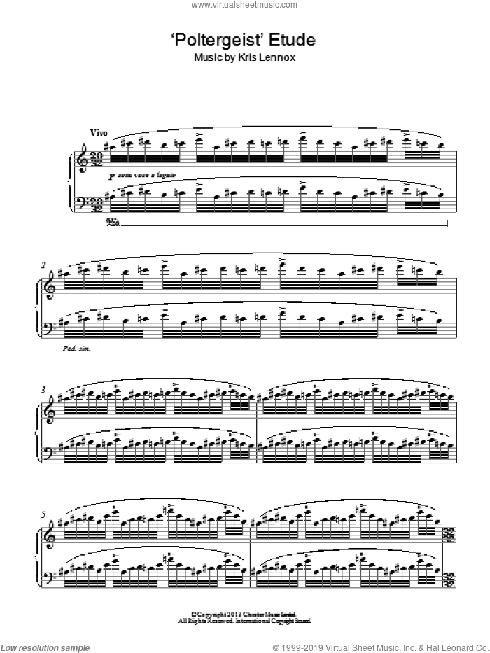 'Poltergeist' Etude sheet music for piano solo by Kris Lennox, classical score, intermediate skill level