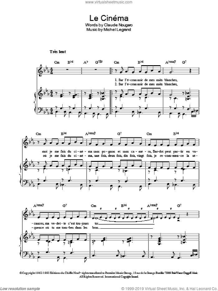 Le Cinema sheet music for voice, piano or guitar by Claude Nougaro