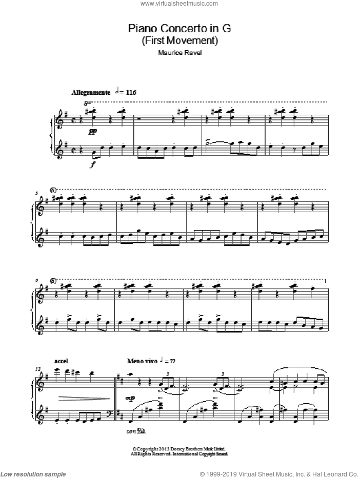 Piano Concerto In G, 1st Movement 'Allegramente' sheet music for piano solo by Maurice Ravel