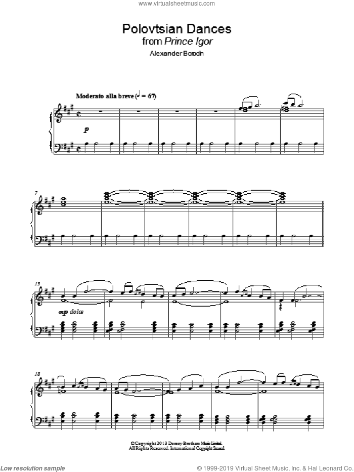 Polovtsian Dances sheet music for piano solo by Alexander Borodin. Score Image Preview.