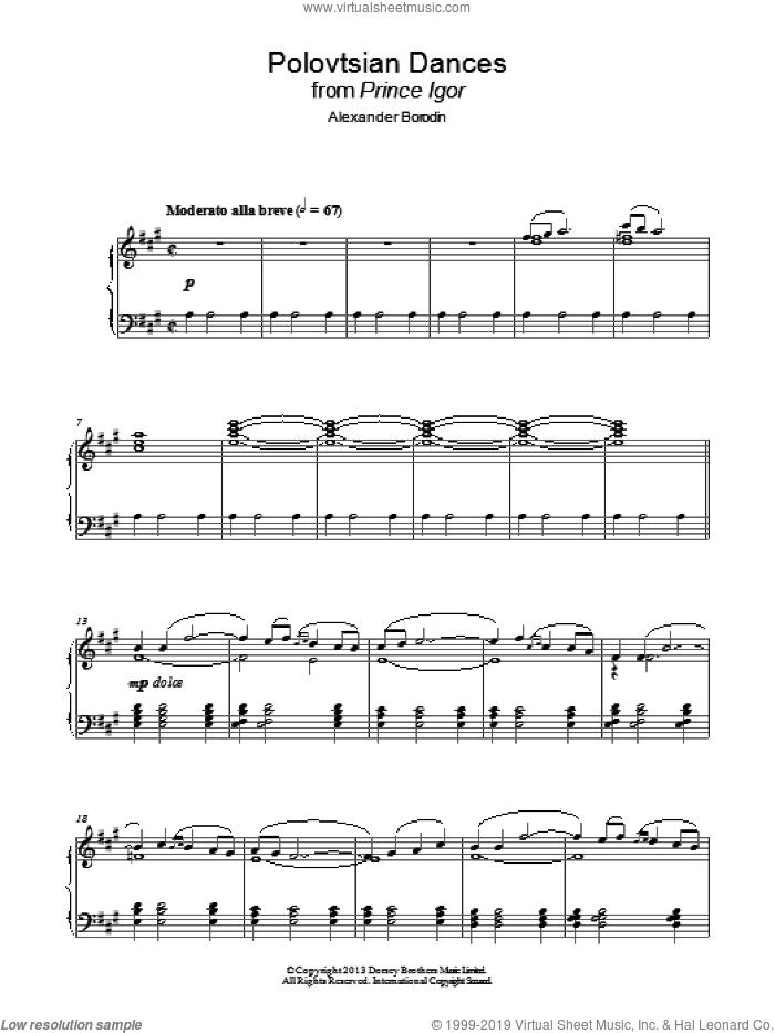 Polovtsian Dances sheet music for piano solo by Alexander Borodin, classical score, intermediate skill level