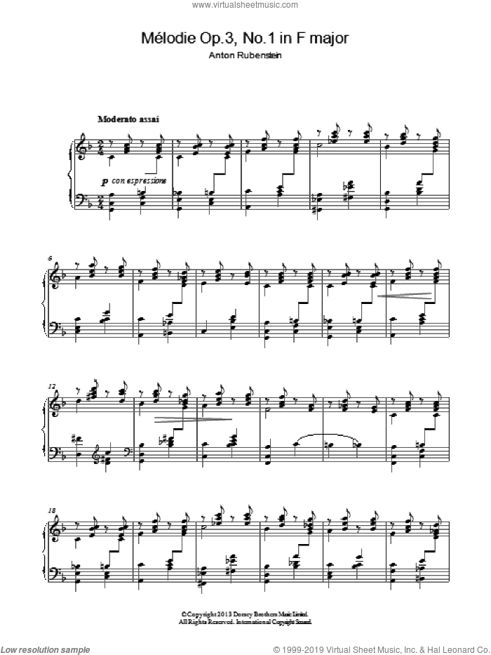 Melodie In F Major Op.3 No.1 sheet music for piano solo by Anton Rubenstein, classical score, intermediate skill level