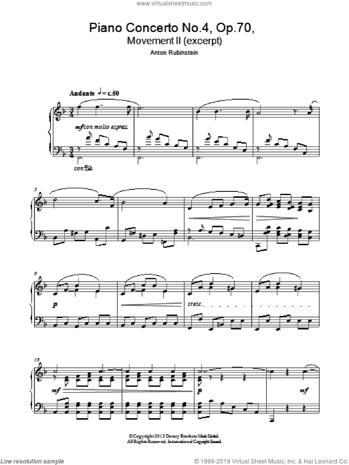 Themes From 'Piano Concerto No.4 Op. 70 In D Minor' sheet music for piano solo by Anton Rubenstein. Score Image Preview.