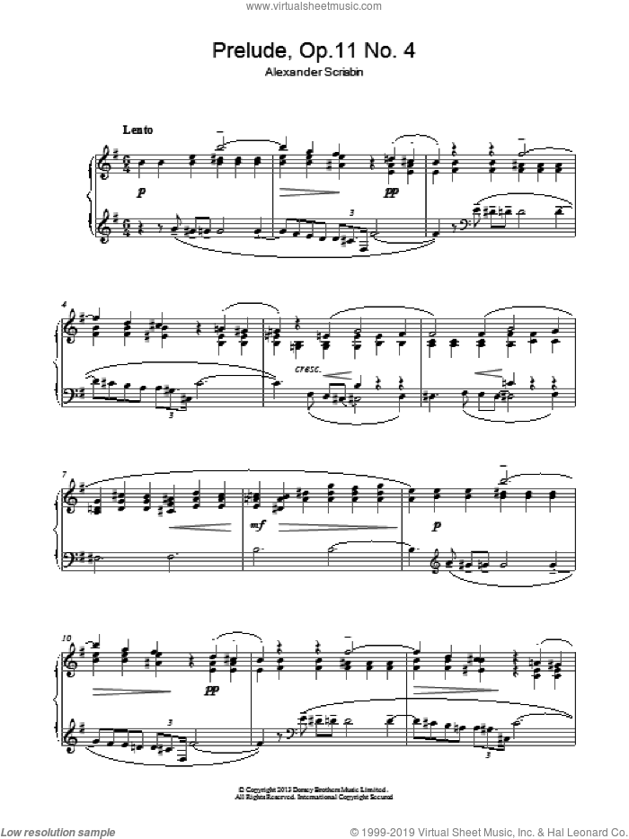 Prelude, Op. 11, No. 4 sheet music for piano solo by Alexander Scriabin. Score Image Preview.