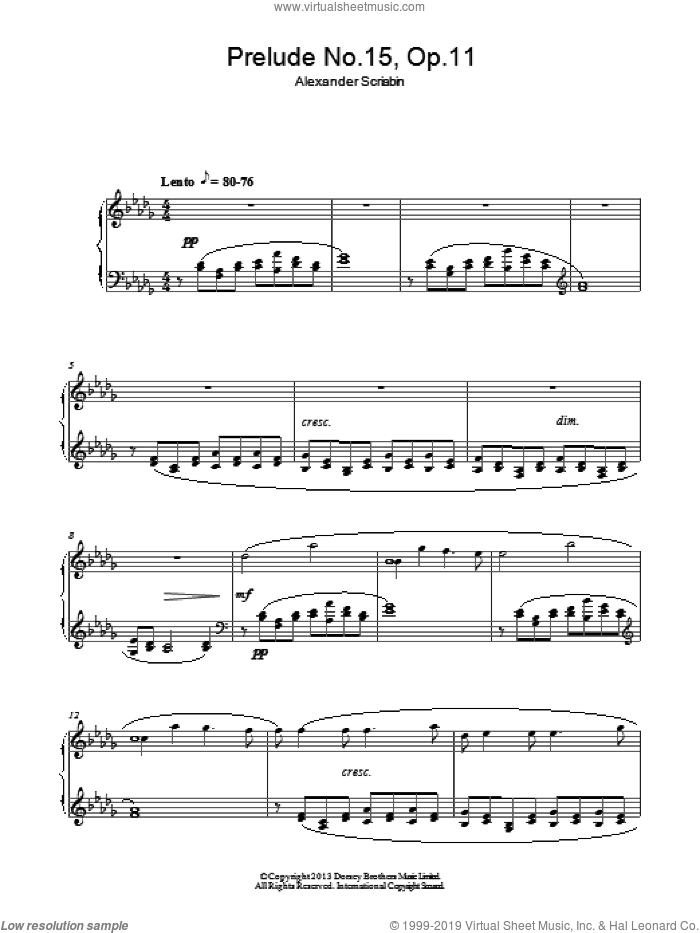 Prelude In D Flat Major No. 15 Op. 11 sheet music for piano solo by Alexander Scriabin, classical score, intermediate. Score Image Preview.