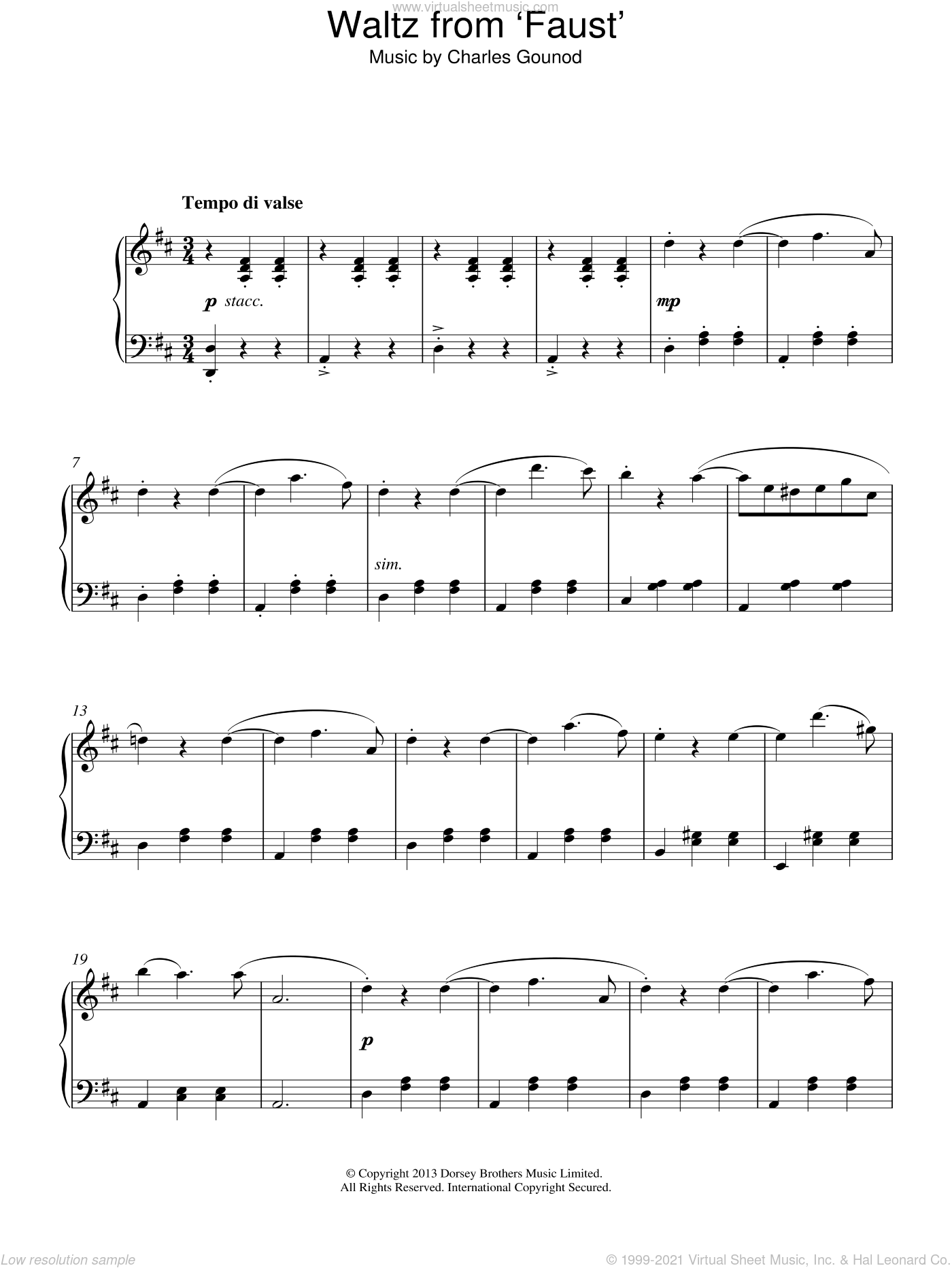 Waltz From Faust sheet music for piano solo by Charles Gounod, classical score, intermediate