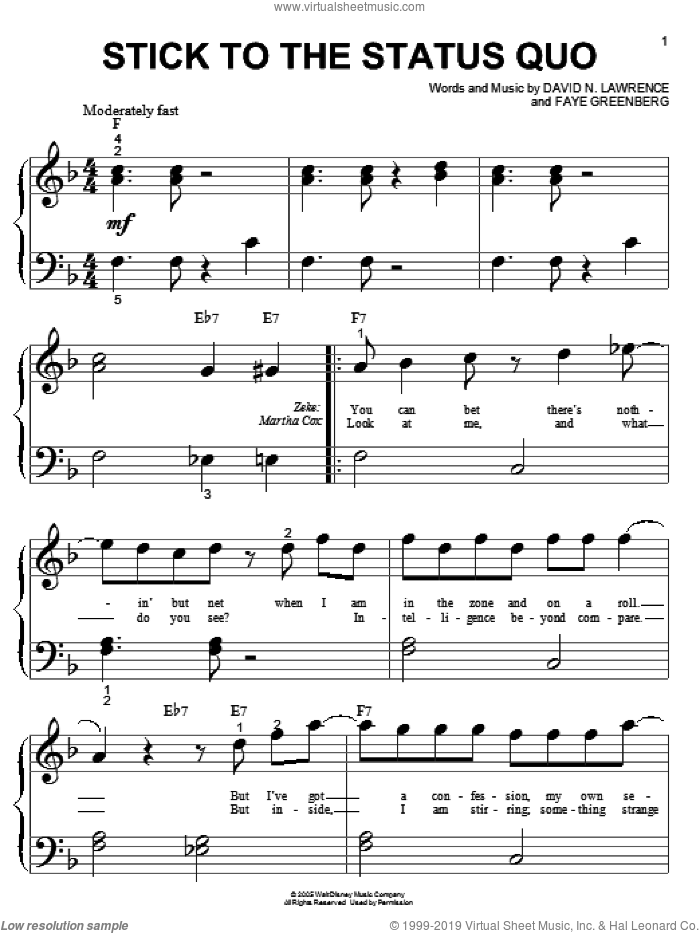Stick To The Status Quo sheet music for piano solo (big note book) by Faye Greenberg and High School Musical. Score Image Preview.