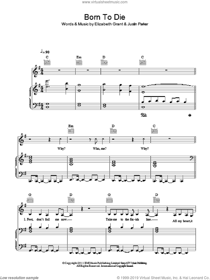 Born To Die sheet music for voice, piano or guitar by Justin Parker, Lana Del Rey and Elizabeth Grant. Score Image Preview.