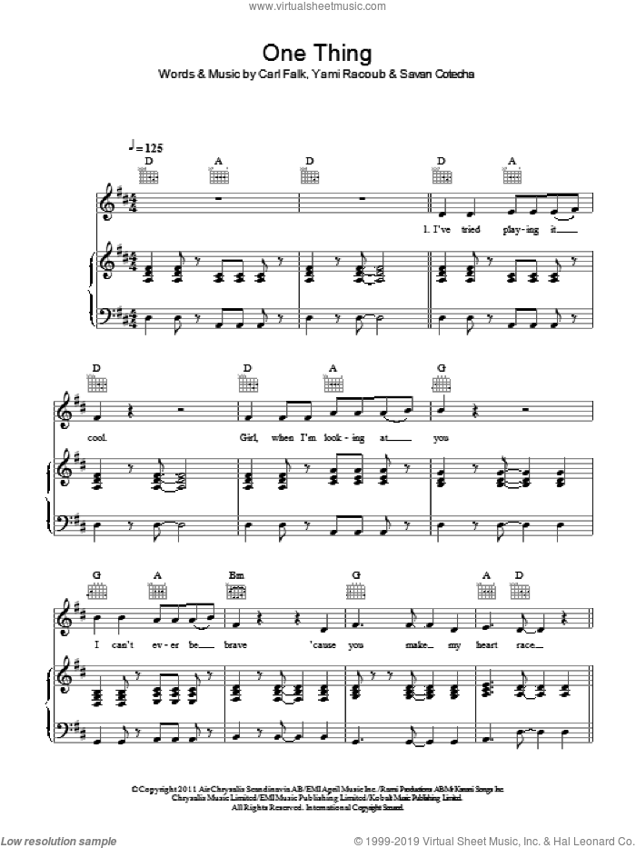 One Thing sheet music for voice, piano or guitar by One Direction, Carl Falk, Rami and Savan Kotecha, intermediate skill level