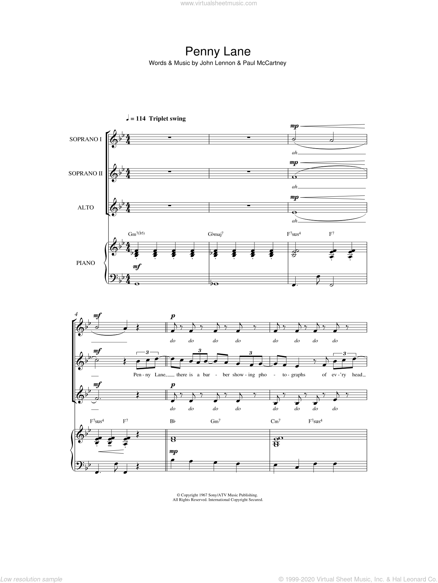 Penny Lane sheet music for choir by The Beatles, John Lennon and Paul McCartney, intermediate. Score Image Preview.