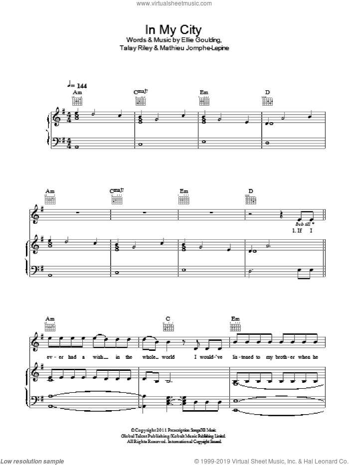 In My City sheet music for voice, piano or guitar by Ellie Goulding, Mathieu Jomphe-Lepine and Talay Riley, intermediate skill level