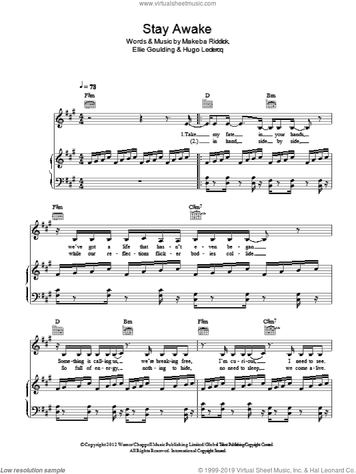 Stay Awake sheet music for voice, piano or guitar by Ellie Goulding, Hugo Leclercq and Makeba Riddick, intermediate skill level