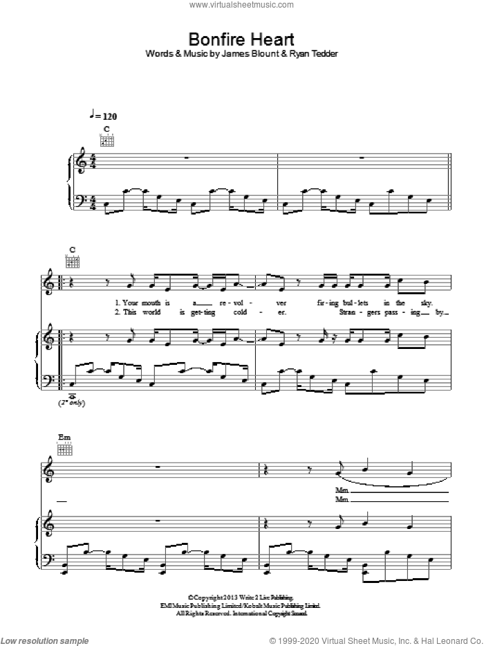 Bonfire Heart sheet music for voice, piano or guitar by James Blunt and Ryan Tedder, intermediate voice, piano or guitar. Score Image Preview.