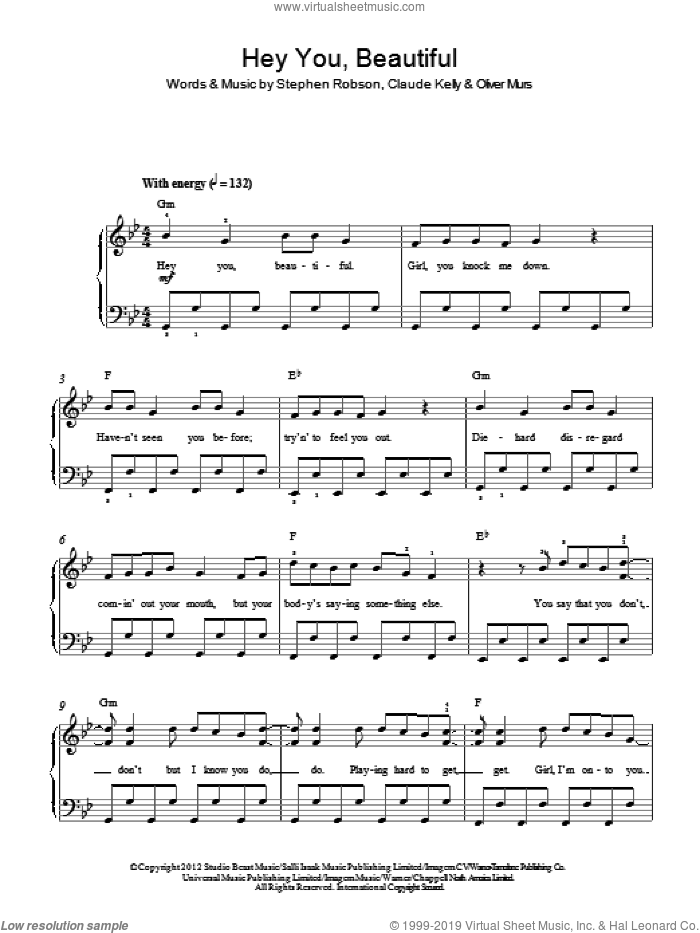Hey You Beautiful sheet music for piano solo by Olly Murs, Claude Kelly, Oliver Murs and Steve Robson, easy skill level