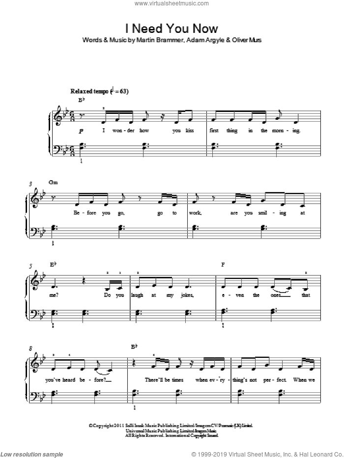 I Need You Now sheet music for piano solo by Olly Murs, easy piano. Score Image Preview.