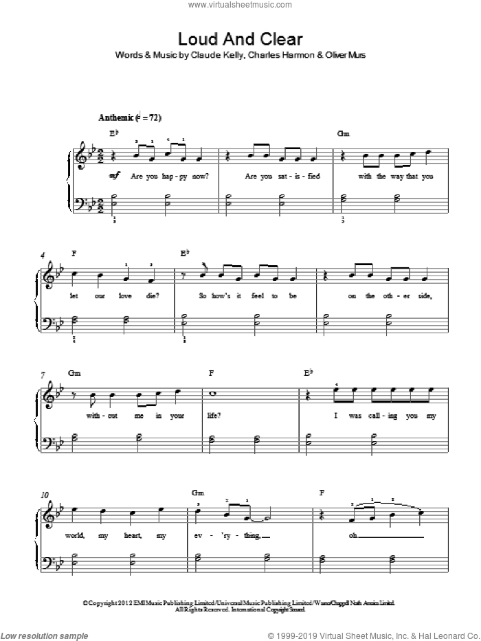 Loud and Clear sheet music for piano solo by Olly Murs, Charles Harmon, Claude Kelly and Oliver Murs, easy skill level