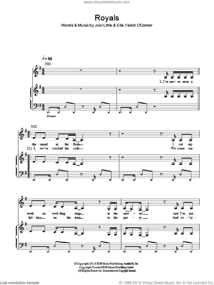 Royals sheet music for voice, piano or guitar by Lorde and Joel Little, intermediate skill level
