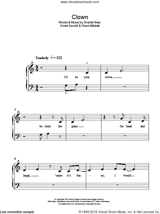 Clown sheet music for piano solo (chords) by Shahid Khan