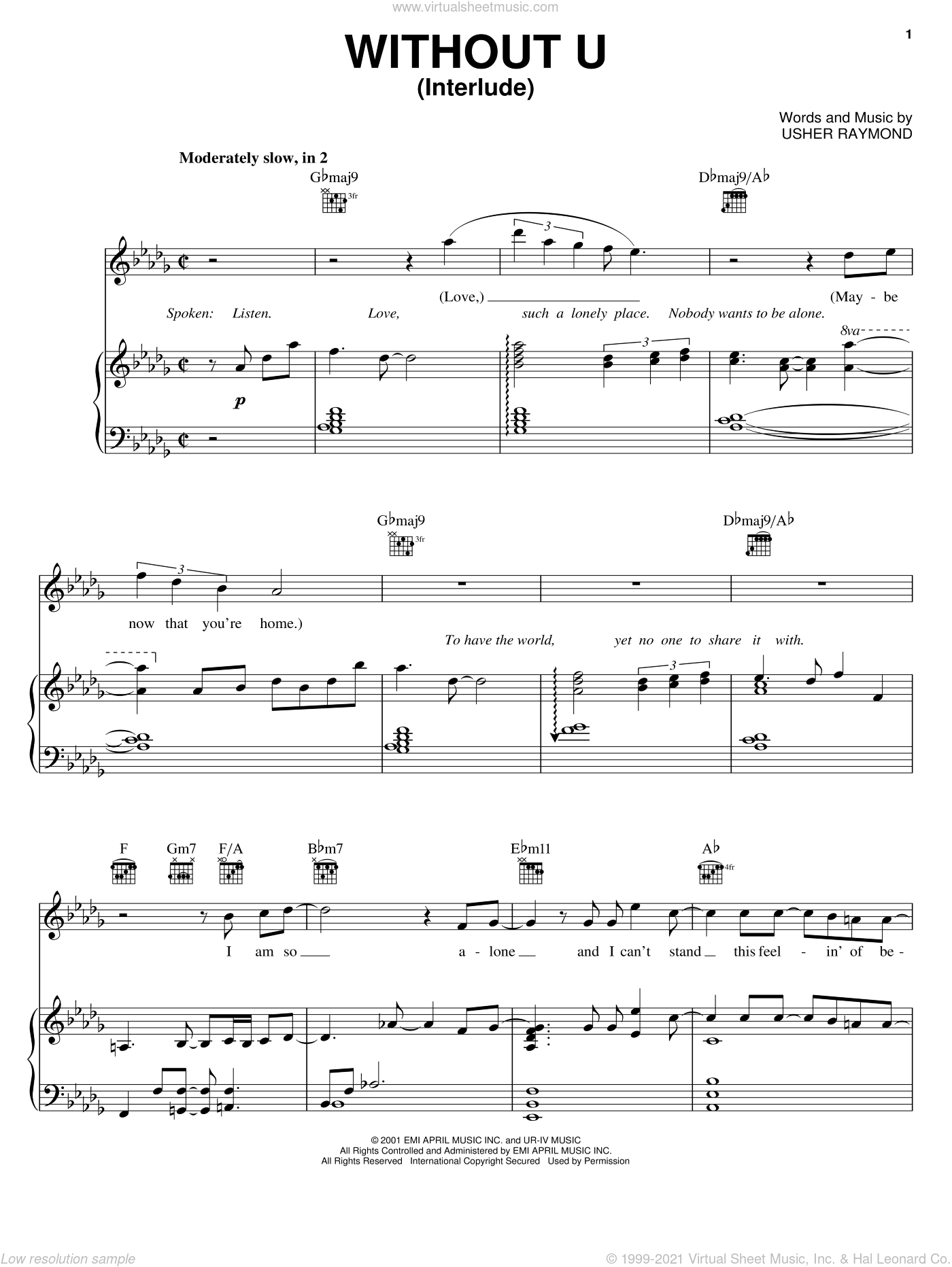Without U (Interlude) sheet music for voice, piano or guitar by Usher Raymond