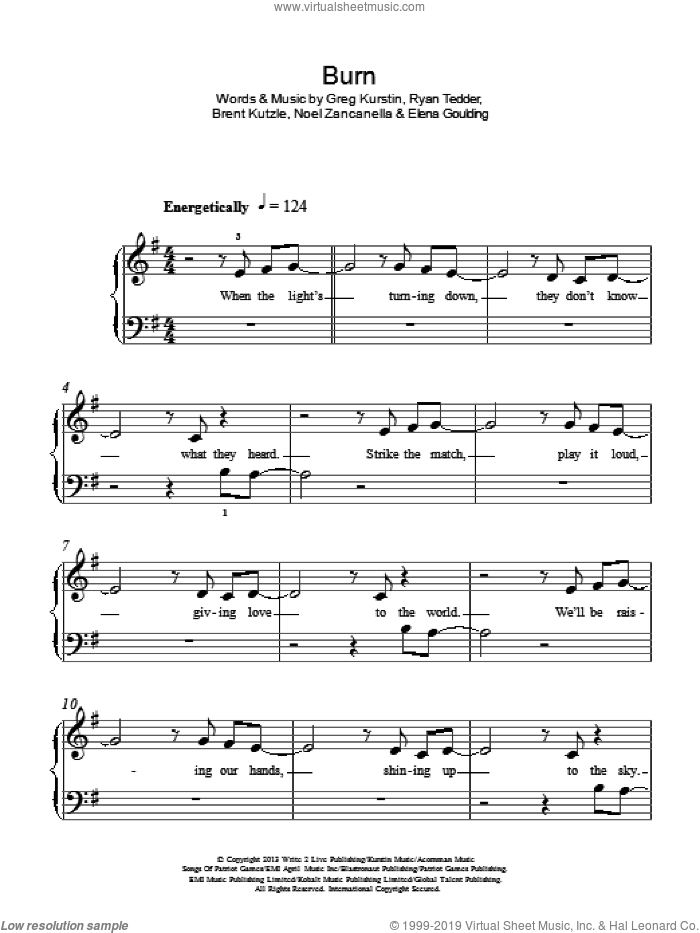 Burn sheet music for piano solo by Ellie Goulding, Brent Kutzle, Elena Goulding, Greg Kurstin, Noel Zancanella and Ryan Tedder, easy