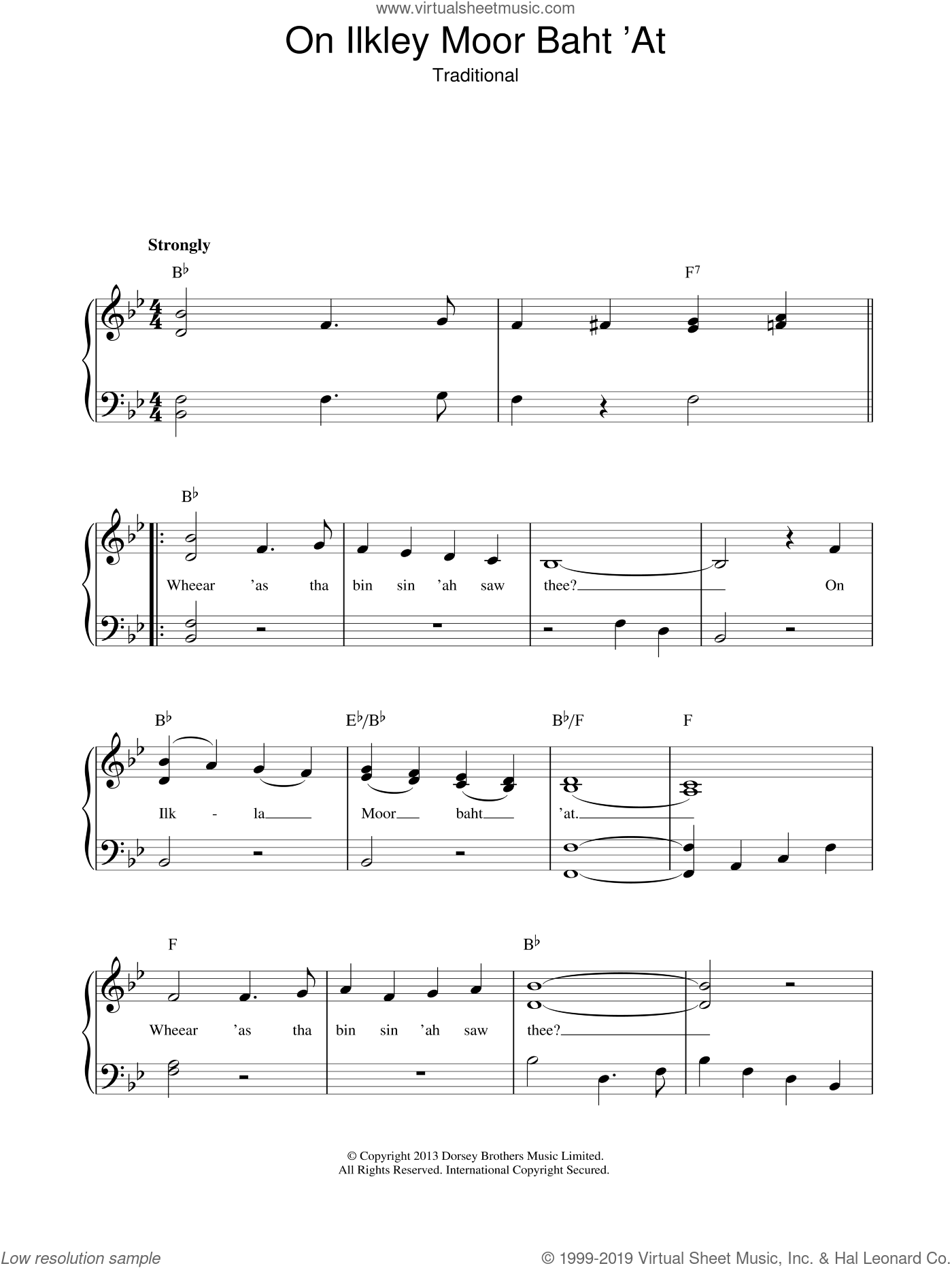 On Ilkley Moor Baht 'At sheet music for piano solo. Score Image Preview.