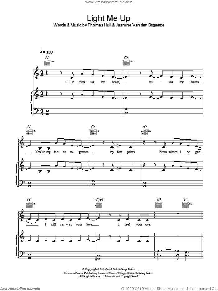 Light Me Up sheet music for voice, piano or guitar by Birdy, Jasmine Van den Bogaerde and Tom Hull, intermediate skill level