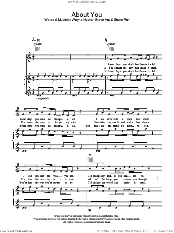 About You sheet music for voice, piano or guitar by Wayne Hector, Shane Filan and Steve Mac. Score Image Preview.