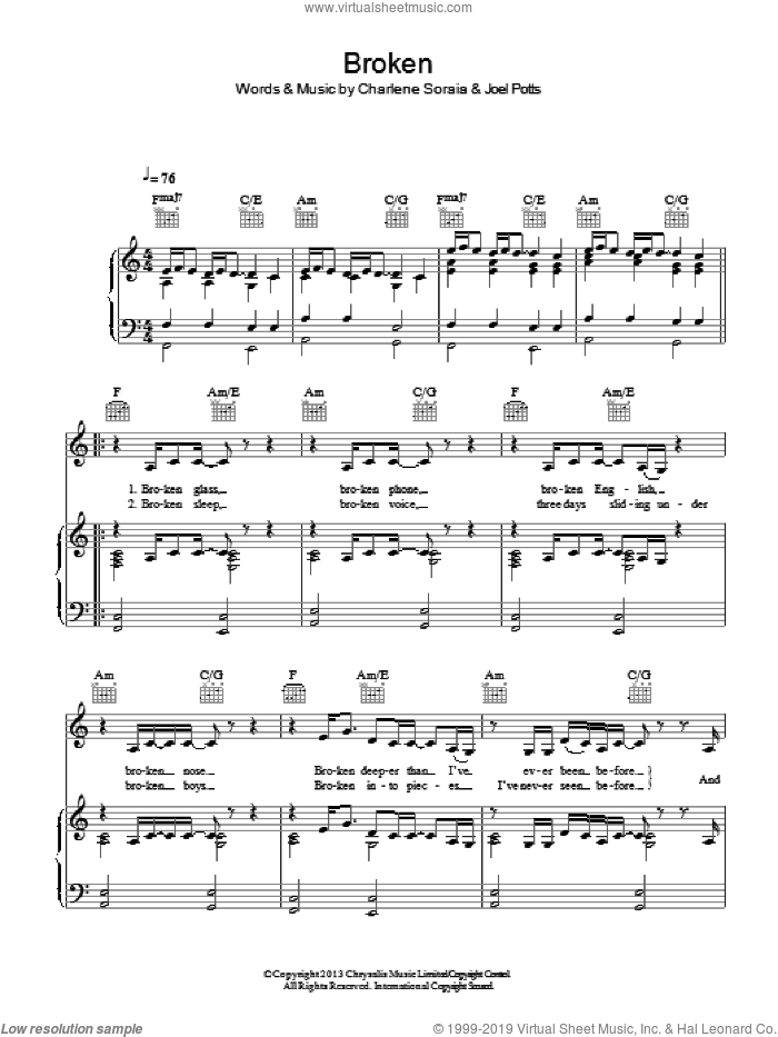 Broken sheet music for voice, piano or guitar by Charlene Soraia and Joel Potts, intermediate skill level