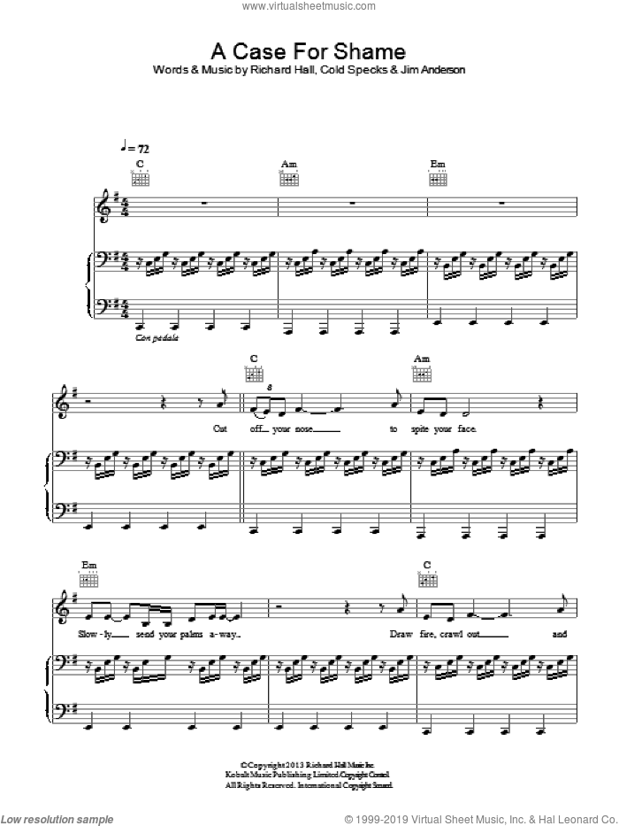 A Case For Shame sheet music for voice, piano or guitar by Richard Hall and Moby. Score Image Preview.