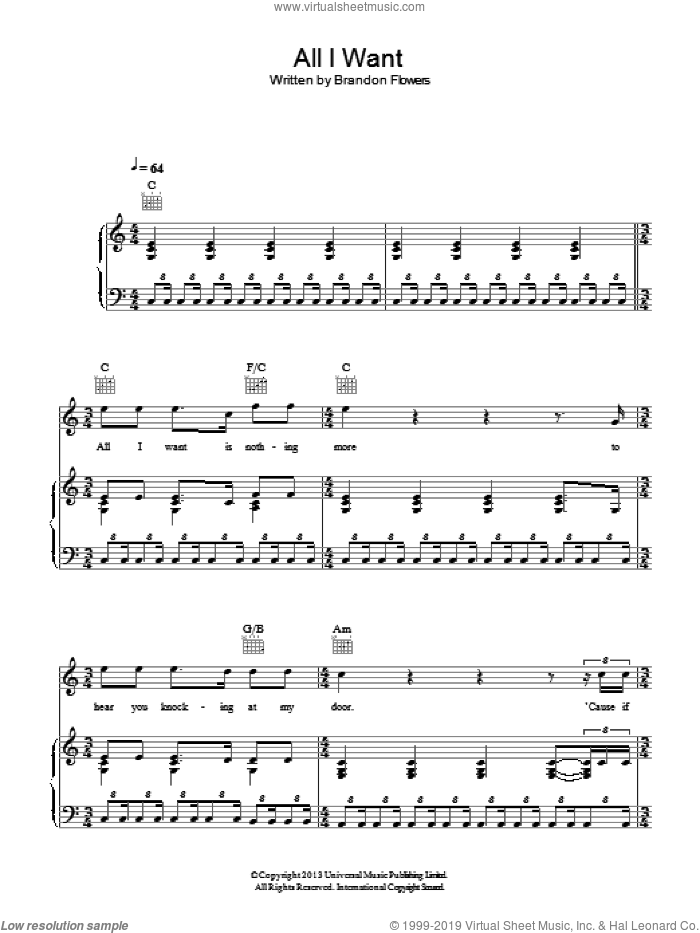 All I Want sheet music for voice, piano or guitar by Kodaline, James Flannigan, Mark Prendergast, Stephen Garrigan and Vincent May, intermediate skill level