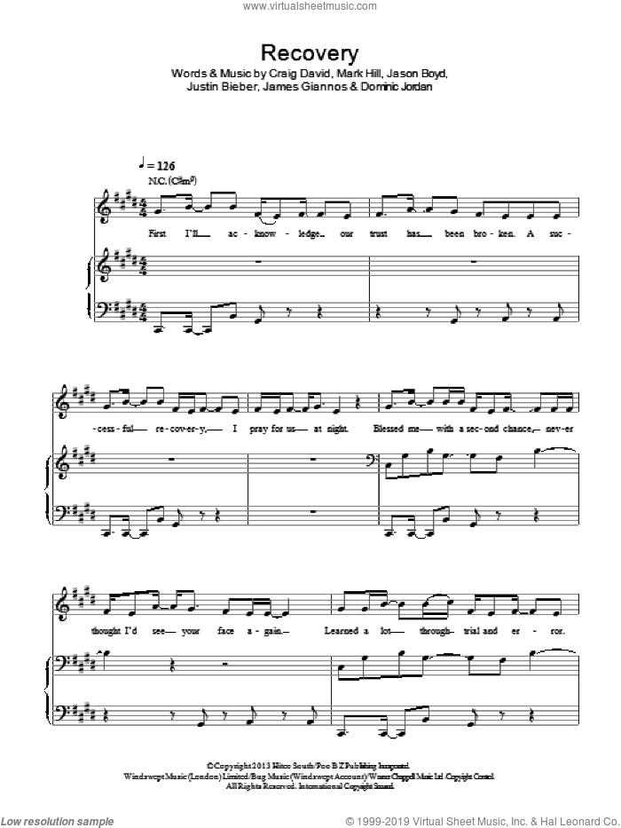 Recovery sheet music for voice, piano or guitar by Mark Hill, Craig David, Jason Boyd and Justin Bieber. Score Image Preview.