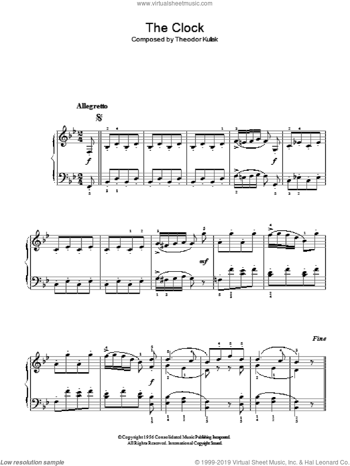 The Clock sheet music for piano solo by Theodor Kullak, classical score, easy skill level