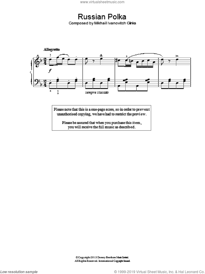 Russian Polka sheet music for piano solo by Mikhail Glinka, classical score, easy skill level