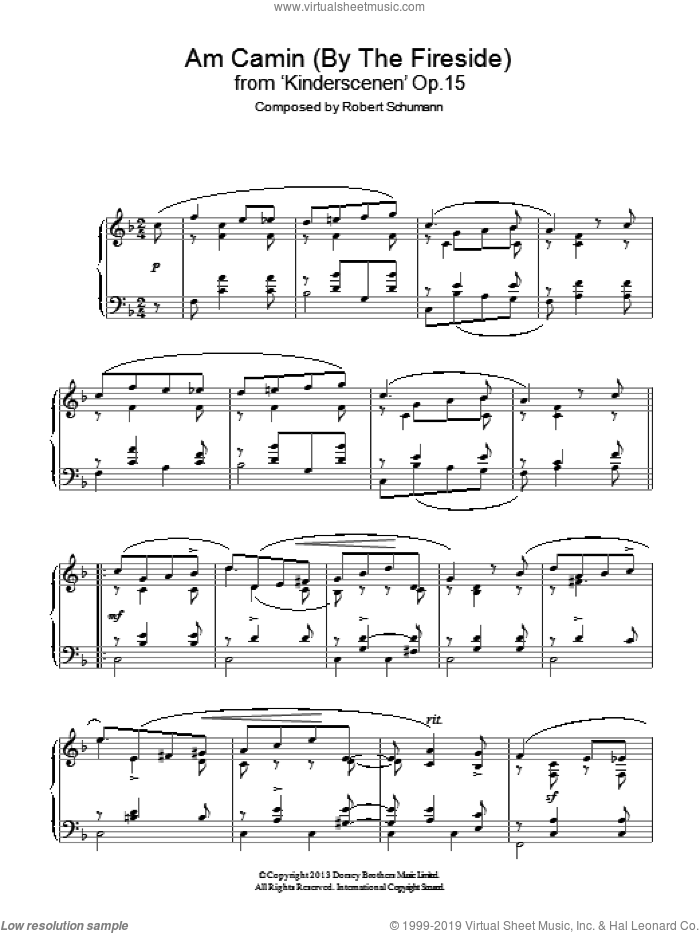 Am Camin (By The Fireside) from 'Kinderscenen' Op.15 sheet music for piano solo by Robert Schumann, classical score, intermediate. Score Image Preview.