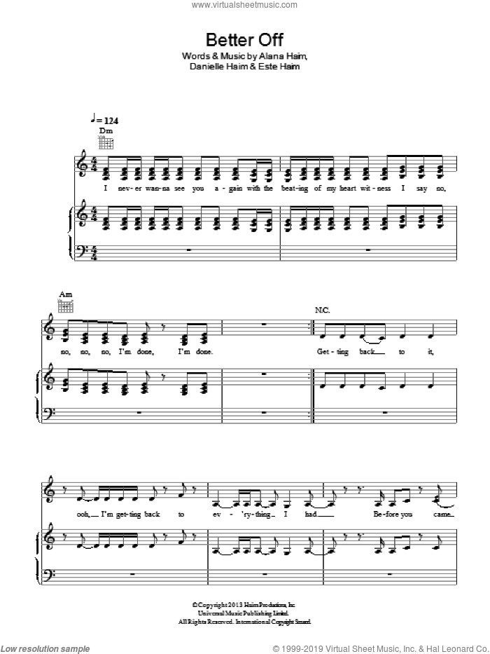 Better Off sheet music for voice, piano or guitar by Haim, Alana Haim, Danielle Haim and Este Haim, intermediate skill level