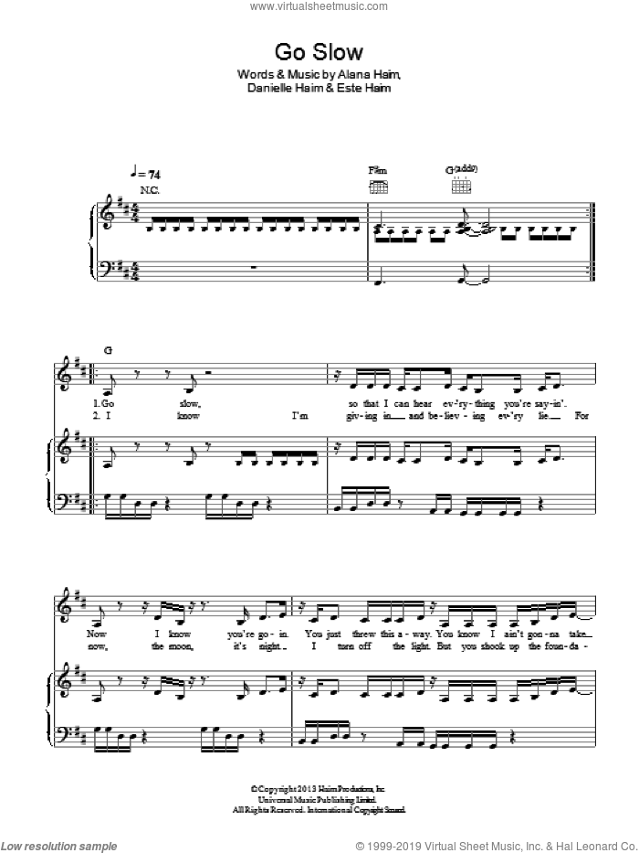 Go Slow sheet music for voice, piano or guitar by Haim, Alana Haim, Danielle Haim and Este Haim, intermediate skill level