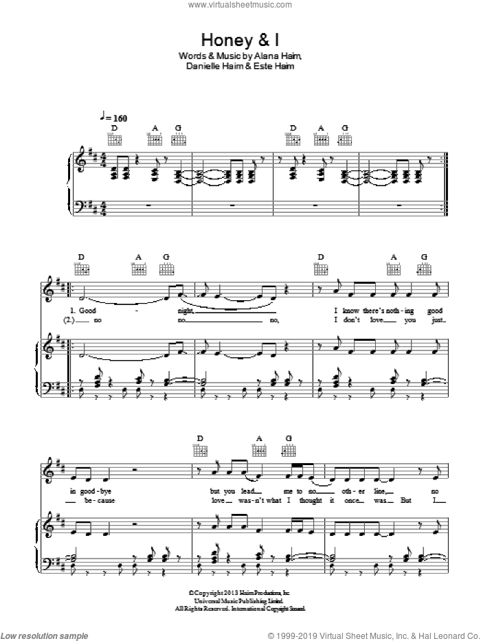 Honey And I sheet music for voice, piano or guitar by Este Haim. Score Image Preview.