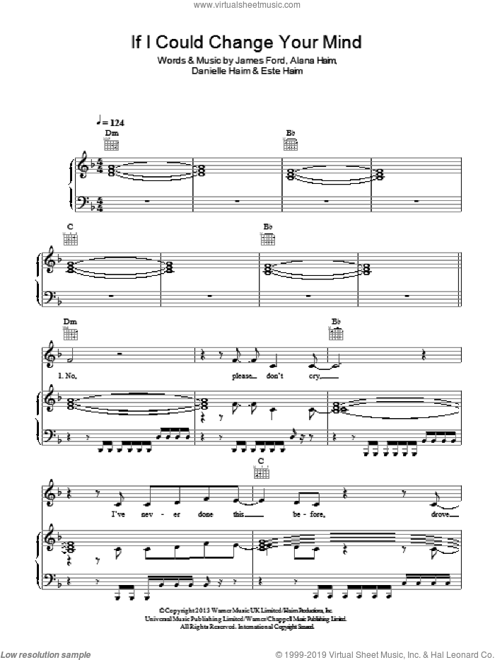 If I Could Change Your Mind sheet music for voice, piano or guitar by James Ford and Este Haim. Score Image Preview.