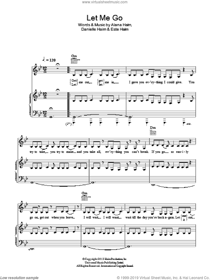 Let Me Go sheet music for voice, piano or guitar by Haim. Score Image Preview.