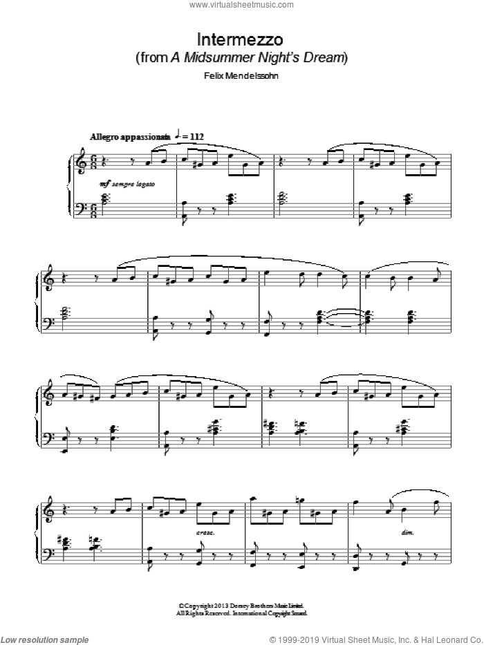 Intermezzo (from a Midsummer Night's Dream) sheet music for piano solo by Felix Mendelssohn-Bartholdy, classical score, intermediate skill level