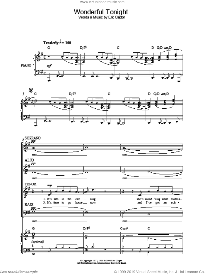 Wonderful Tonight sheet music for choir by Eric Clapton. Score Image Preview.