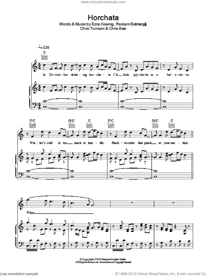Horchata sheet music for voice, piano or guitar by Vampire Weekend, Chris Baio, Chris Tomson, Ezra Koenig and Rostam Batmanglij, intermediate skill level